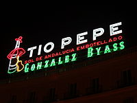 A close up of the Tio Pepe Neon Advertisment at Puerta del Sol in Madrid, Spain.JPG