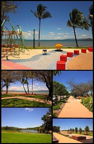 Bowen, Queensland - Top: Playground at Bowen Foreshore, Middle left: Bowen Foreshore, Middle right: Walkway along Santa Barbara parade, Bottom left: Muller's Lagoon, Bottom right: Bowen Skatebowl
