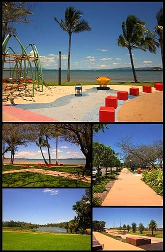 Bowen, Queensland - Top: Playground at Bowen Foreshore, Middle left: Bowen Foreshore, Middle right: Walkway along Santa Barbara parade, Bottom left: Muller's Lagoon, Bottom right: Bowen Skatebowl