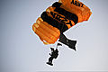 A member of the U.S. Army Parachute Team, Golden Knights, approaches the ground during a demonstration at the 2011 Army Ten-Miler in Washington, D.C., Oct. 9, 2011 111009-A-AO884-003.jpg