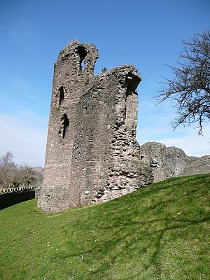 Abergavenny Castle - Curtain wall of Abergavenny castle, 2008
