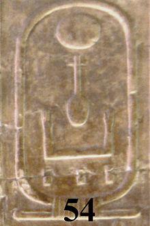 El cartucho de Neferkaure en la lista de reyes de Abydos.