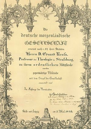 Deutsche Morgenländische Gesellschaft - Deutsche Morgenländische Gesellschaft. Certificate of appointment issued to Eduard Reuss in 1846.