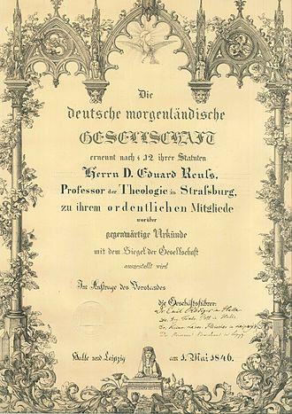 Deutsche Morgenländische Gesellschaft - Deutsche Morgenländische Gesellschaft. Certificate of appointment issued to Eduard Reuss in 1846.