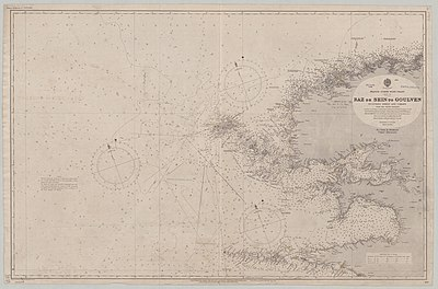 Admiralty Chart No 2643 France north west coast sheet 7 Raz de Sein to Goulven, Published 1859.jpg