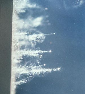Stardust (spacecraft) - Visible dust grains in the aerogel collector.
