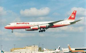 Aeroperú - An Aeroperú Douglas DC-8-62H lands at Miami International Airport in 1992.