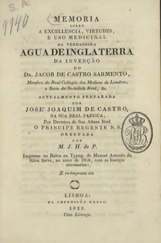Água de Inglaterra - Cover of 1828 reprint of an 1803 booklet extolling the virtues of Água de Inglaterra