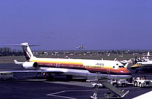 Air Cal jet at John Wayne Airport, 1981.jpg
