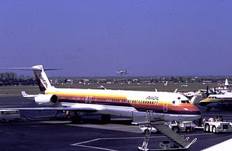 John Wayne Airport - Air Cal jet at John Wayne Airport, 1981