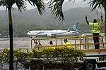 Air New Zealand B767-319ER (ZK-NCL) being marshalled at Rarotonga International Airport.jpg
