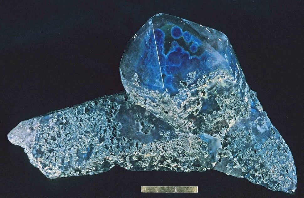 Ajoite in quartz - Messina mine, Limpopo Province, South Africa