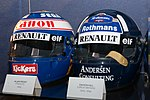 Alain Prost and Damon Hill helmets 2017 Williams Conference Centre.jpg