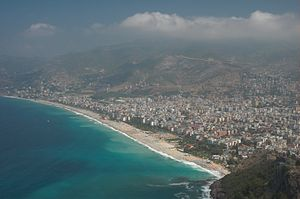 The Cleopatra beach as seen from the Alanya Castle