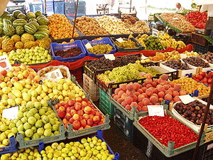 fruit market in Obaköy, part of Alanya, Turkey