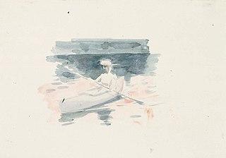 Nainen kanootissa, luonnos