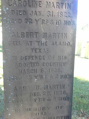 Albert Martin (soldier) - Martin's grave (cenotaph) memorial in Providence, RI