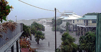 Tropical Storm Alberto (2006) - Storm surge flooding from Tropical Storm Alberto at Horseshoe Beach, Florida
