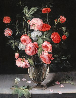 Alexander Adriaenssen - Still life with flowers in a glass vase, 1630s