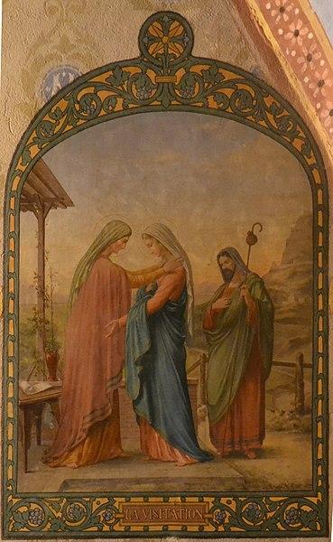 Peinture à l'huile sur toile marouflée réalisée par le peintre Alexis Douce de la Salle  représentant la Visitation de la Vierge Marie, située dans la chapelle de la Vierge de l'église de Leyment (Ain) et non datée