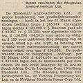 Algemeen Handelsblad vol 106 no 34598 Avondblad Buitenland, Londen Flauwer, Betere resultaten der Rhodesian Anglo-American Ltd.jpg