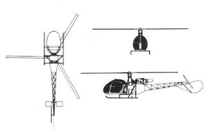 Orthographically projected diagram of the Aérospatiale Alouette II.