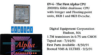 DEC Alpha - Alpha AXP 21064 bare die mounted on a business card with some statistics