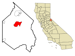 Alpine County California Incorporated and Unincorporated areas Markleeville Highlighted.svg