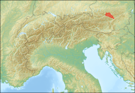 Ennstal Alps (in red) within the Alps.The borders of the range according toAlpine Club classification of the Eastern Alps