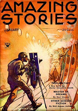 E. E. Smith - Triplanetary was the last of Smith's 1930s novels to be serialized in Amazing Stories; his Lensman novels were published in Astounding Stories.