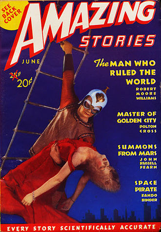 "Raymond A. Palmer - Palmer's first issue of Amazing Stories introduced a redesigned logo and the unlikely claim ""Every Story Scientifically Accurate"""