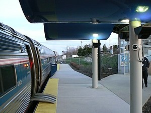 Portland Transportation Center - The platform at PTC; an Amtrak Downeaster train is alongside.