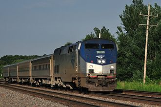 Illinois Zephyr and Carl Sandburg - The Illinois Zephyr westbound on the BNSF Chicago subdivision