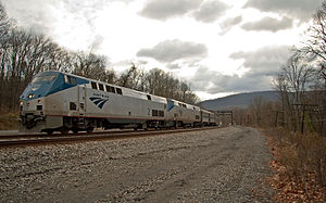 Amtrak's Capitol Limited speeds through Orleans Cross Roads in 2010.