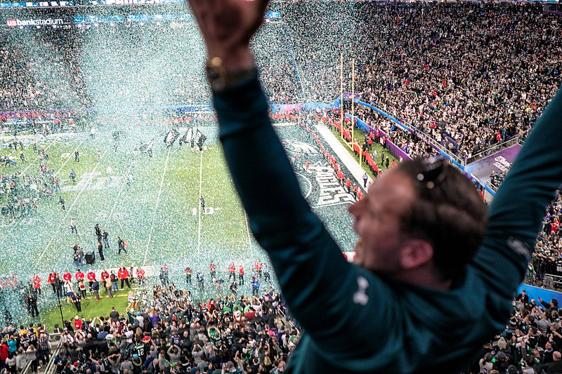 File:An Eagles fan celebrates as confetti falls on the field at Super Bowl 2018, Minneapolis MN (40074198602).jpg