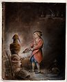 An alchemist in a short orange gown blowing bellows into a s Wellcome V0025608.jpg