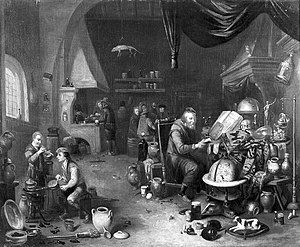 An alchemist in his laboratory. Oil painting. Wellcome L0008818.jpg