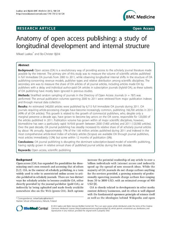 Page d'un article scientifique sur le fonctionnement de l'open access