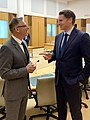 Andrew Hastie MP, Chair of the Parliamentary Joint Committee on Intelligence and Security with Deputy Chair Anthony Byrne MP in February 2020 photo taken by D Birch.jpg