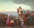 Anker Lund - Kong Erik Ejegod meddeler på Viborg Thing, det forsamlede folk sin hensigt at drage til Det Hellige Land, som bod for nogle drab, han har begået ved et gæstebud - 1879.png