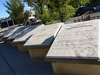 Anne Frank Human Rights Memorial - The first plaque of the Universal Declaration of Human Rights in monumental form was the first item subjected to vandalism