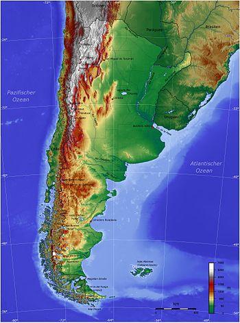 Deutsch: Topografische Karte von Argentinien