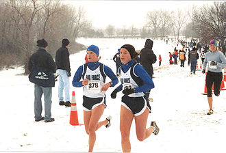 Athlete - Athletes taking part in a race on a snowy park in the U.S.