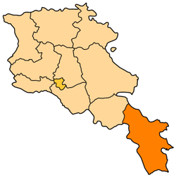 Map of Syunik in Armenia