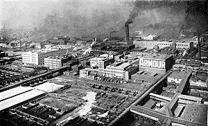 Armour and Company - View of Armour's plant and stock yards from a balloon, circa 1910