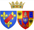 Arms of Maria Teresa Felicitas d'Este as Duchess of Penthièvre.png