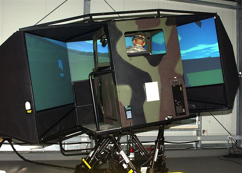 File:Army Sgt. Derwood Sloan tests the Army's first heavy-wheeled vehicle simulator in Europe at Anderson Barracks.jpg