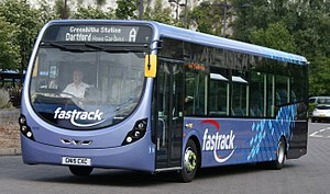 Fastrack (bus) - Wright Streetlite at Bluewater Shopping Centre in August 2015