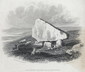 Cefn Bryn - Arthur's stone, near Swansea as depicted c. 1840