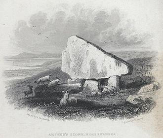 Cefn Bryn - Arthur's stone, near Swansea as depicted c. 1840
